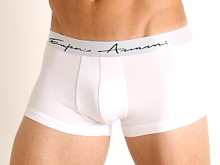 Model in white Emporio Armani Organic Cotton Logo Signature Trunk