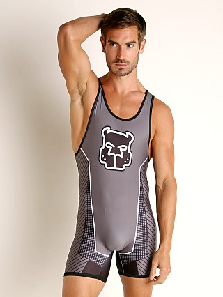 Model in grey Cell Block 13 Kennel Club Slit Back Scout Singlet