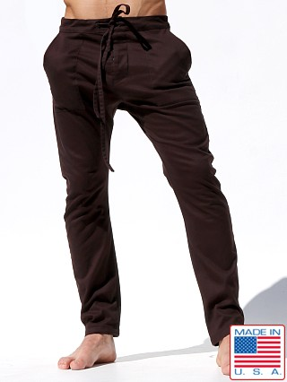 Model in chocolate brown Rufskin Chocolat Cropped Casual Pants