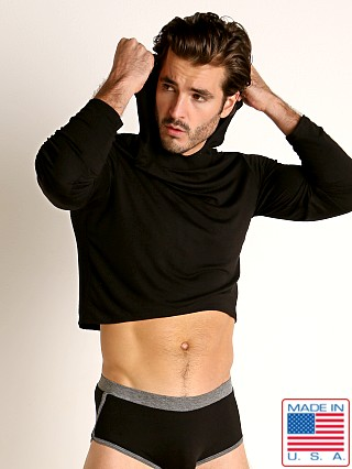 Model in black Go Softwear Body 2 Extreme Crop Top Hoodie