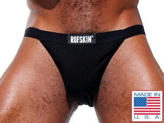 Model in black Rufskin Rick Stretch Cotton Sports Brief
