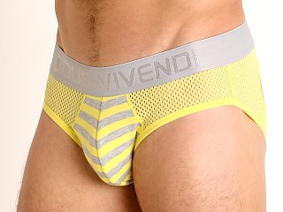 Model in yellow Modus Vivendi Pop Perforated Mesh Backless Brief