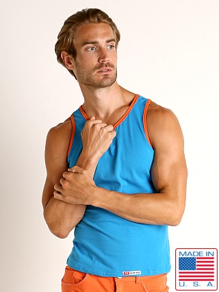 Model in caribbean blue Go Softwear Havana Classic Tank Top