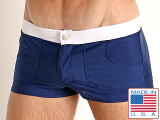 Model in navy Go Softwear Biscayne Zip Front Swim Trunk