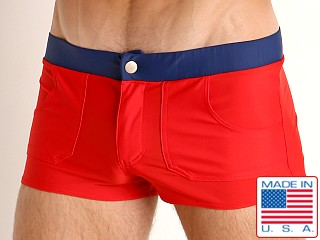 Model in red Go Softwear Biscayne Zip Front Swim Trunk