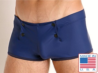 Model in navy Go Softwear Sailor Snap Swim Trunk