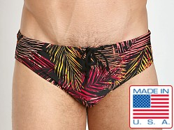 LASC Aussie Style Loose Fit Drawstring Swim Brief Black Palms