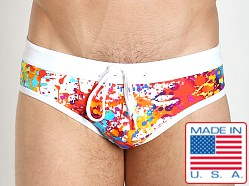 LASC Profiler Drawstring Swim Brief White Splatter