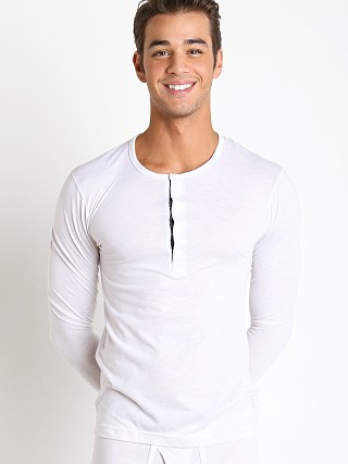 Model in winter white 2xist Tartan Long Sleeve Henley