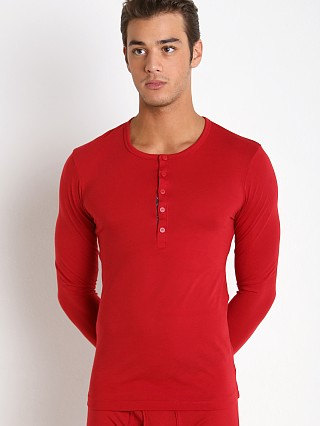 Model in scotts red 2xist Tartan Long Sleeve Henley