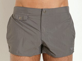 Emporio Armani Eagle Button Swim Shorts Ash Grey