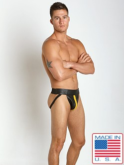 JT Yellow Stripe Deluxe Leather Jock Strap