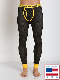 American Jock Active Black Mesh Long John Black/Yellow