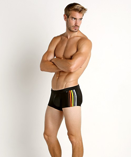 Tulio Bear Stripe Swim Trunk Black