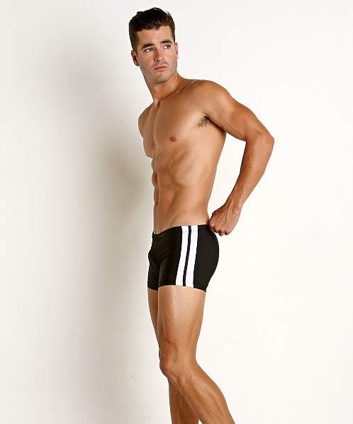 Tulio Classic Stripes Swim Trunk Black