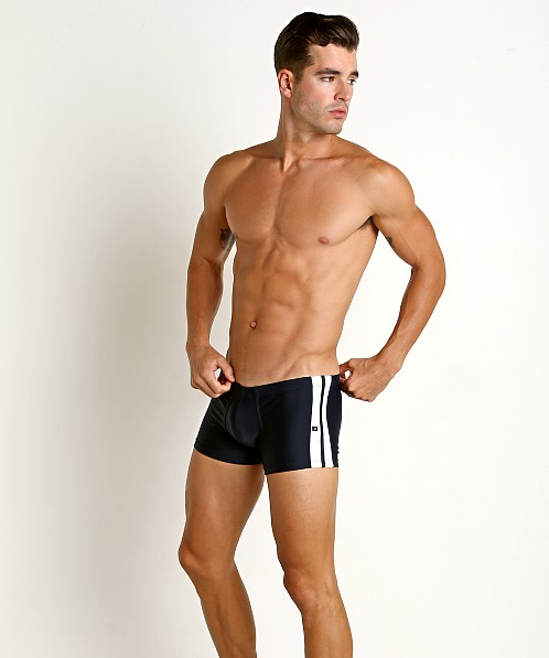 Tulio Classic Stripes Swim Trunk Navy