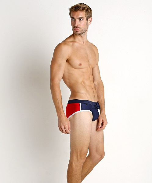 Tulio Lace Front Swim Brief Red/Navy/White