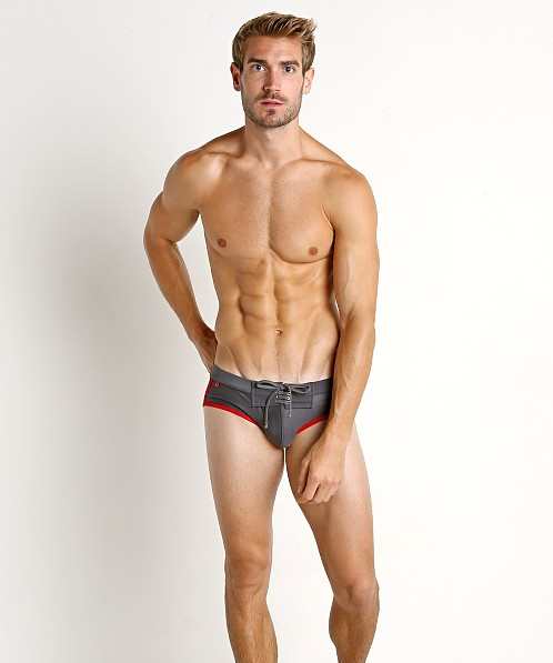 Tulio Lace Front Swim Brief Black/Grey/Red