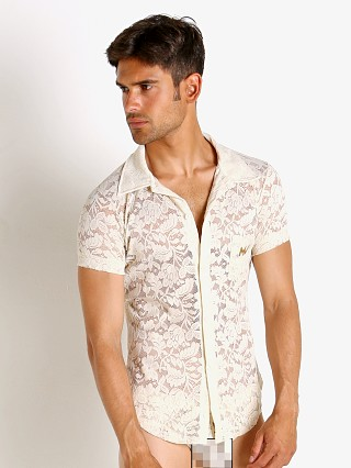 Model in ivory Modus Vivendi Floral Lace Shirt