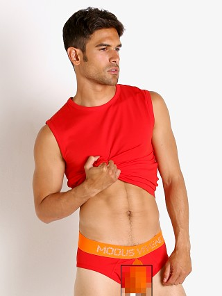 Model in red Modus Vivendi Secret Pleat Mesh Panel Muscle Shirt
