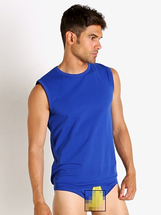 Model in blue Modus Vivendi Secret Pleat Mesh Panel Muscle Shirt