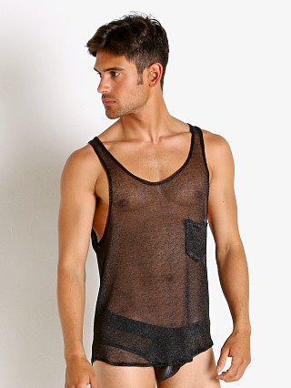 Model in black Modus Vivendi Armour Metallic Mesh Tank Top
