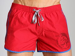 Diesel Reef Double Stripe Swim Shorts Red