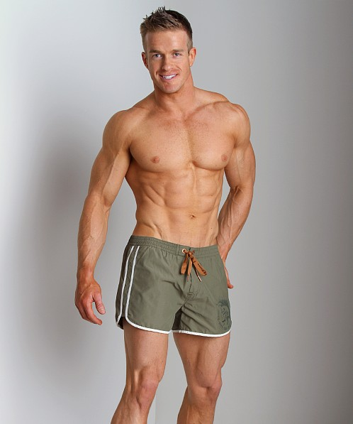 Diesel Reef Double Stripe Swim Shorts Hunter Green