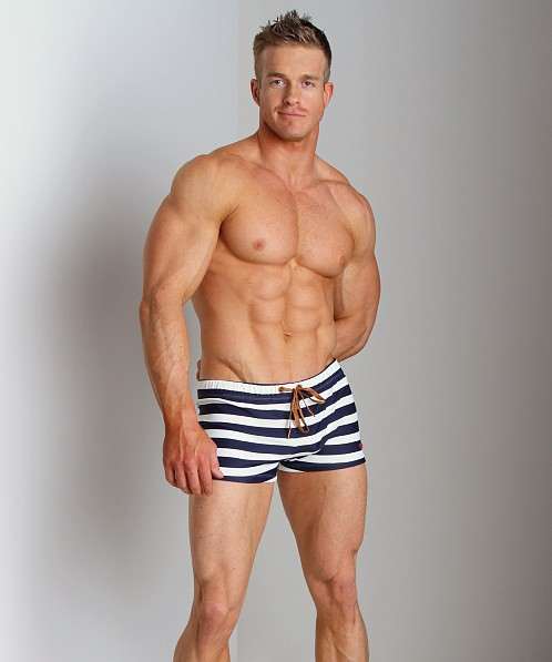 Diesel Aloha Striped Swim Trunk Blue/White