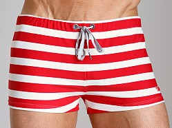 Diesel Aloha Striped Swim Trunk Red/White