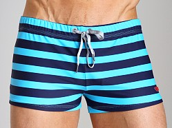 Diesel Aloha Striped Swim Trunk Blue/Teal
