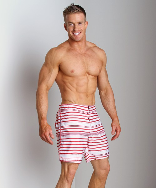 Diesel Blans Striped Swim Boxer Red