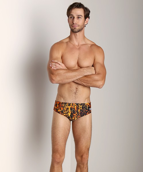 Speedo Splatter Splash Racing Brief Vibrant Orange