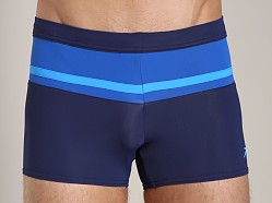 Speedo Color Block Square Leg Swim Trunk Nautical Navy