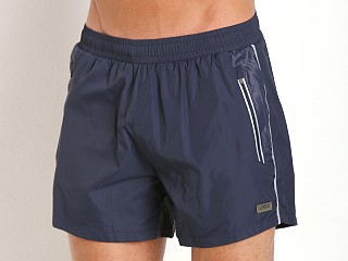 Model in royal Hugo Boss Acava Swim Shorts