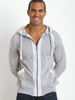 2xist Active Organic Terry Full Zip Hoodie Light Grey Heather