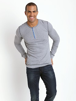 2xist Active Original Waffle Henley Light Grey Heather