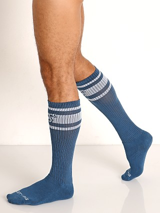 Model in stellar blue Nasty Pig Hook'd Up Sport Socks