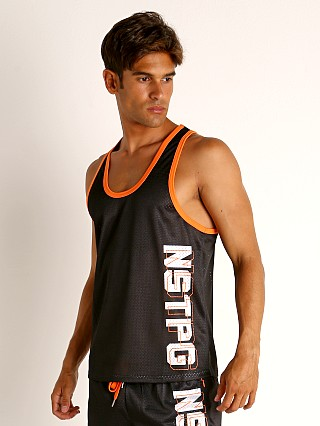 Model in black Nasty Pig Momentum Mesh Tank Top