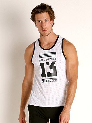 Model in white Cell Block 13 Mesh Relay Tank Top