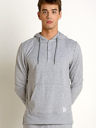 2xist Modern Essentials Hooded Henley Sweatshirt Heather Grey