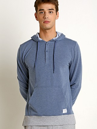 2xist Modern Essentials Hooded Henley Sweatshirt Denim Heather