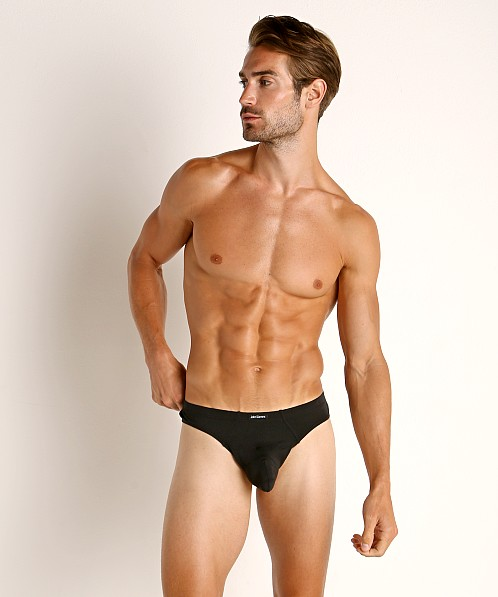 John Sievers LUX Natural Pouch Low Rise Thong Black