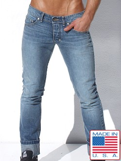 Rufskin Donovan Distressed Denim Jeans Faded Blue