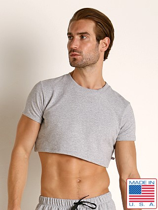 Model in heather American Jock Equipo Half Tee