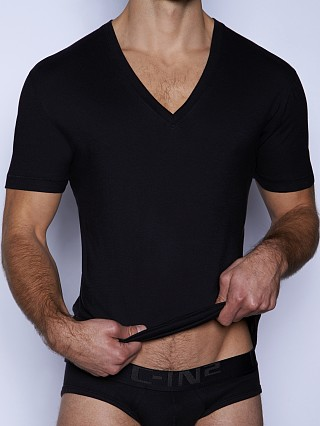 Model in black C-IN2 Core Deep V-Neck Shirt