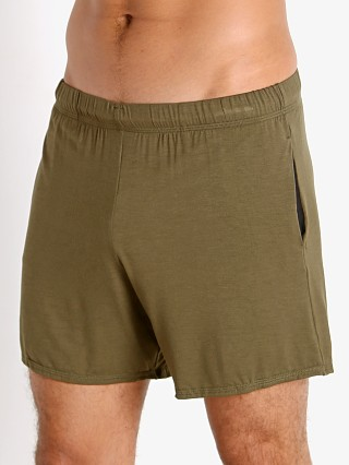 Model in army McKillop Propel Modal Lounge Shorts