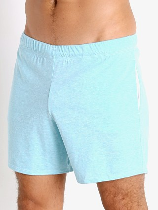 Model in aqua heather McKillop Propel Cotton/Poly Lounge Shorts