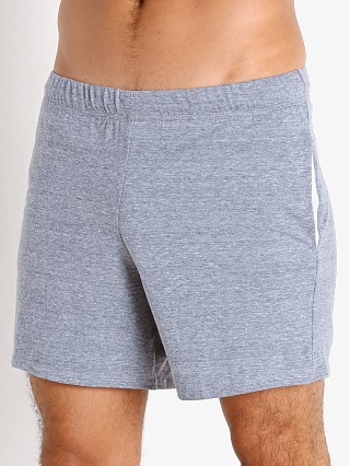 Model in light grey heather McKillop Propel Cotton/Poly Lounge Shorts