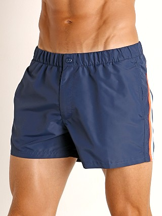 "Model in navy #24 Sundek 13"" Elastic Waistband Surf Trunk"